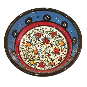 Bowl Turco Pintado de Cerâmica Azul Bebê Liso 12cm (Pinturas Diversas)
