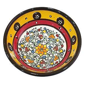 Bowl Turco Pintado de Cerâmica Amarelo Liso 12cm (Pinturas Diversas)