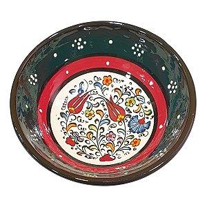 Bowl Turco Pintado de Cerâmica Verde Escuro Liso 12cm (Pinturas Diversas)