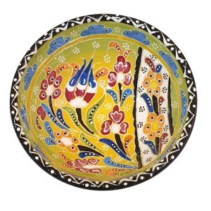 Bowl Turco Pintado de Cerâmica Verde Estampado 12cm (Pinturas Diversas)