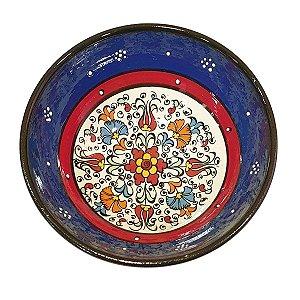 Bowl Turco Pintado de Cerâmica Azul Royal Liso 16cm (Pinturas Diversas)