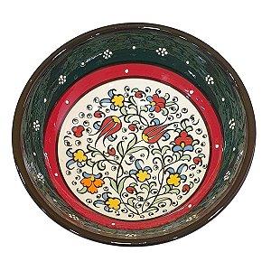 Bowl Turco Pintado de Cerâmica Verde Escuro Liso 16cm (Pinturas Diversas)