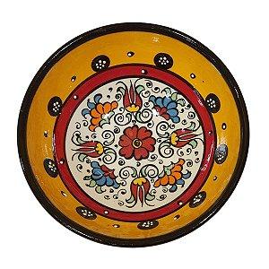 Bowl Turco Pintado de Cerâmica Amarelo Liso 16cm (Pinturas Diversas)