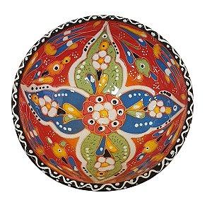 Bowl Turco Pintado de Cerâmica Vermelho Estampado 16cm (Pinturas Diversas)