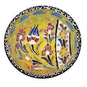 Bowl Turco Pintado de Cerâmica Verde Estampado 16cm (Pinturas Diversas)