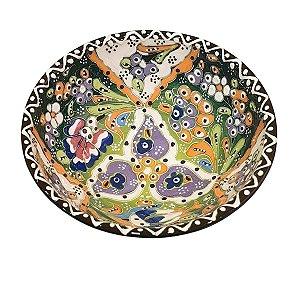 Bowl Turco Pintado de Cerâmica Verde Escuro Estampado 16cm (Pinturas Diversas)