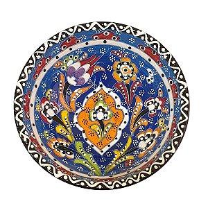 Bowl Turco Pintado de Cerâmica Azul Bebê Estampado 16cm (Pinturas Diversas)