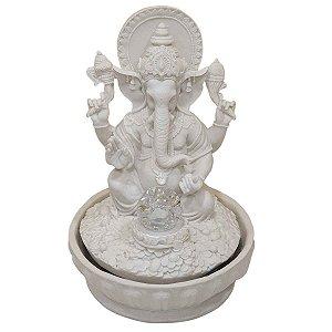 Fonte Ganesha de Pó de Mármore Branca 30cm (Modelo 2)