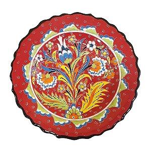 Prato Turco Pintado de Cerâmica Vermelho 18cm (Modelo 1)