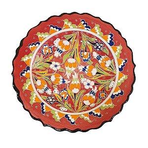 Prato Turco Pintado de Cerâmica Vermelho 18cm (Modelo 2)