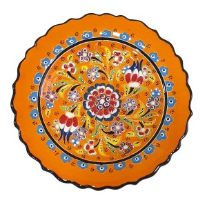 Prato Turco Pintado de Cerâmica Laranja 18cm (Modelo 1)