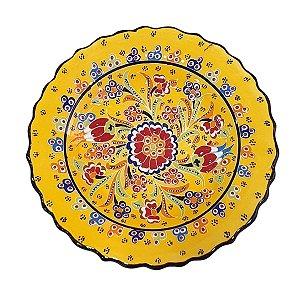 Prato Turco Pintado de Cerâmica Amarelo 18cm (Modelo 1)