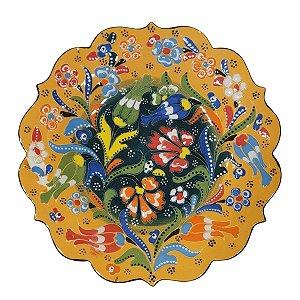 Prato Turco Pintado de Cerâmica Amarelo 18cm (Modelo 3)