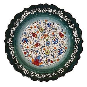 Prato Turco Pintado de Cerâmica Verde Escuro Liso (Pinturas Diversas) 30cm