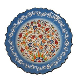 Prato Turco Pintado de Cerâmica Azul Bebê Liso (Pinturas Diversas) 30cm
