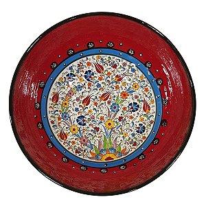 Centro de Mesa Turco Pintado de Cerâmica Vermelho 30cm (Pinturas Diversas)