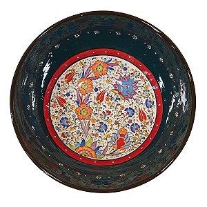 Centro de Mesa Turco Pintado de Cerâmica Verde Escuro 30cm (Pinturas Diversas)