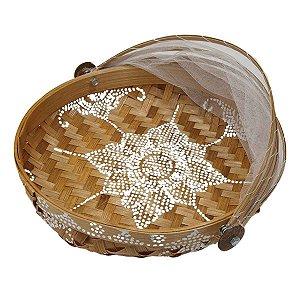 Cesto de Pão Bambu Redondo Cru com Branco 25cm (Estampas Variadas)