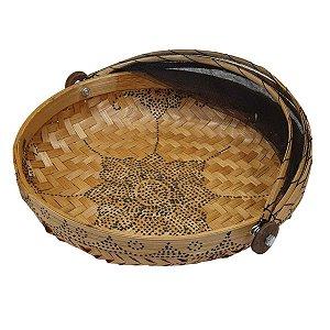 Cesto de Pão Bambu Redondo Cru com Preto 35cm (Estampas Variadas)