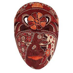 Máscara Batik Madeira Balsa Flor Vinho 30cm (Estampas Diversas)
