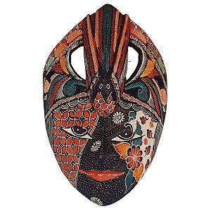 Máscara Batik Madeira Balsa Pássaro Azul Marinho 30cm (Estampas Diversas)