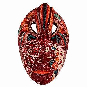 Máscara Batik Madeira Balsa Pássaro Vinho 30cm (Estampas Diversas)