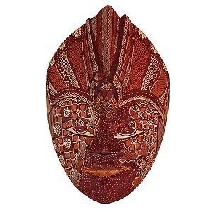 Máscara Batik Madeira Balsa Pássaro Telha 30cm (Estampas Diversas)