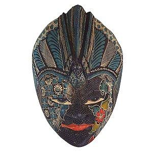 Máscara Batik Madeira Balsa Pássaro Azul 30cm (Estampas Diversas)