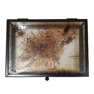 Caixa Decorativa de Vidro Mapa Moscou 17cm