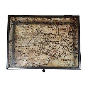 Caixa Decorativa de Vidro Mapa Tóquio 20cm