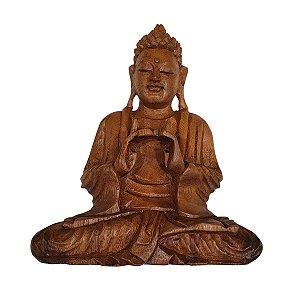 Estátua de Buda Sidarta de Madeira Suar Mudra Equilíbrio 35cm