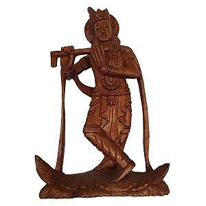 Escultura de Krishna de Madeira Suar 30cm