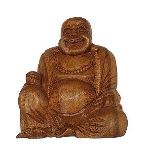 Buda Hotei de Madeira Suar 22cm