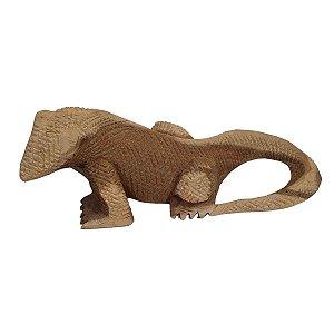 Dragão de Komodo de Madeira Suar Mesclado 22cm
