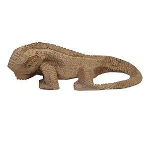 Escultura Iguana de Madeira Suar Mesclada 22cm
