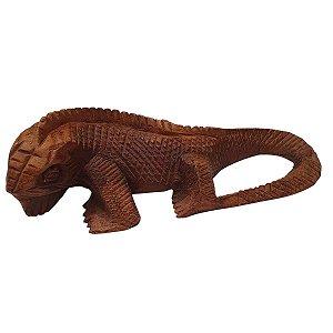 Escultura Iguana de Madeira Suar 30cm