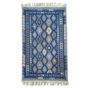 Tapete Kilim Antep 100% Algodão Azul 003 1x140cm