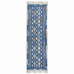 Passadeira Kilim Antep 100% Algodão Azul 003 60x180cm