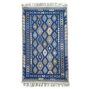 Tapete Kilim Antep 100% Algodão Azul 003 60x90cm