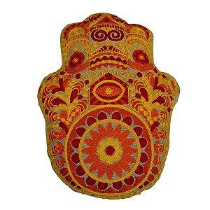 Almofada de Algodão Hamsá Bordada Amarela 40cm