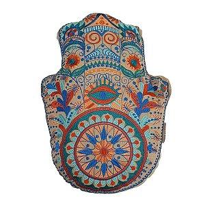 Almofada de Algodão Hamsá Bordada Azul 35cm
