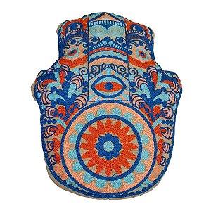 Almofada de Algodão Hamsá Bordada Azul Caneta 40cm