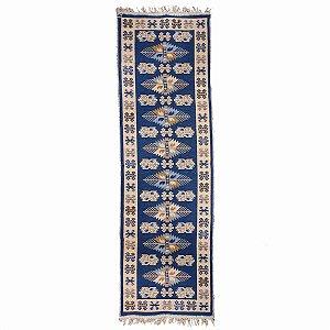 Passadeira Kilim Antep 100% Algodão Azul 001 60x180cm