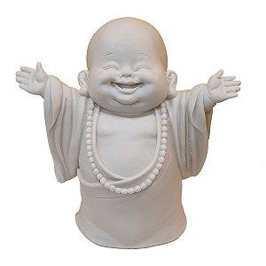 Escultura Monge da Gratidão de Pó de Mármore Branco 25cm