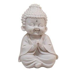 Escultura Monge Oração da Felicidade de Pó de Mármore Branco 12cm