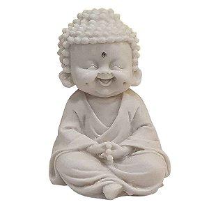 Escultura Monge Oração com Terço de Pó de Mármore Branco 15cm