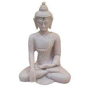 Escultura Buda Sidarta de Pó de Mármore Branco 15cm