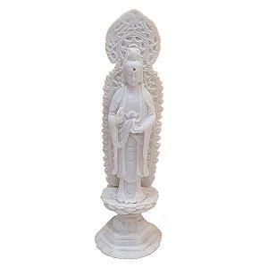 Escultura Kwan Yin no Pedestal de Pó de Mármore Branco 19cm