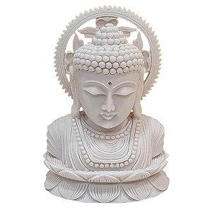 Escultura Cabeça de Buda com Resplendor Pó de Mármore Branco 18cm