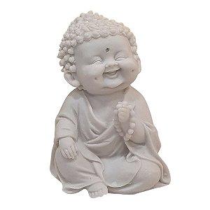 Escultura Monge Felicidade com Terço de Pó de Mármore Branco 15cm
